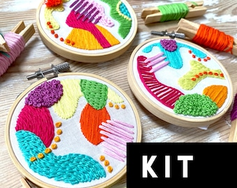 Abstract Beginner Embroidery Kit. Sampler EmbroideryCraft Kit. Abstract DIY Embroidery Kit. Colourful Embroidery Kit