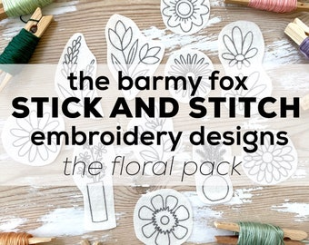 The Floral Pack Stick and Stitch Embroidery Pattern. Floral Embroidery Stick and Stitch Designs. Water Soluble Stick on Embroidery Patterns