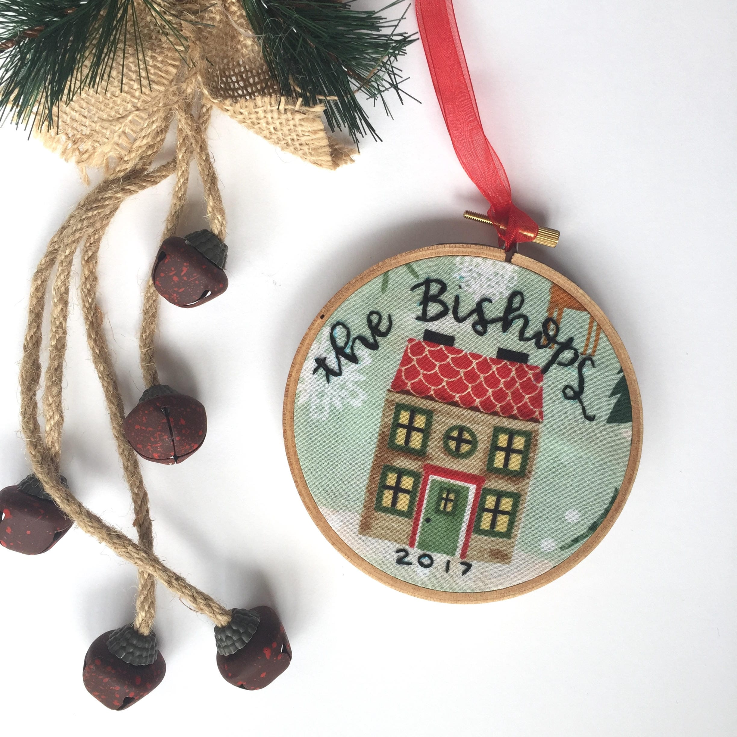 Custom Home Christmas Ornament Surname Christmas Embroidery