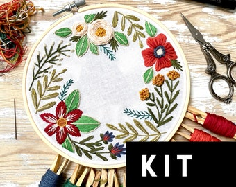 Changing Seasons Embroidery Kit. Spring Florals DIY Beginner Embroidery Kit. Floral embroidery gift for mothers day. Floral embroidery kit