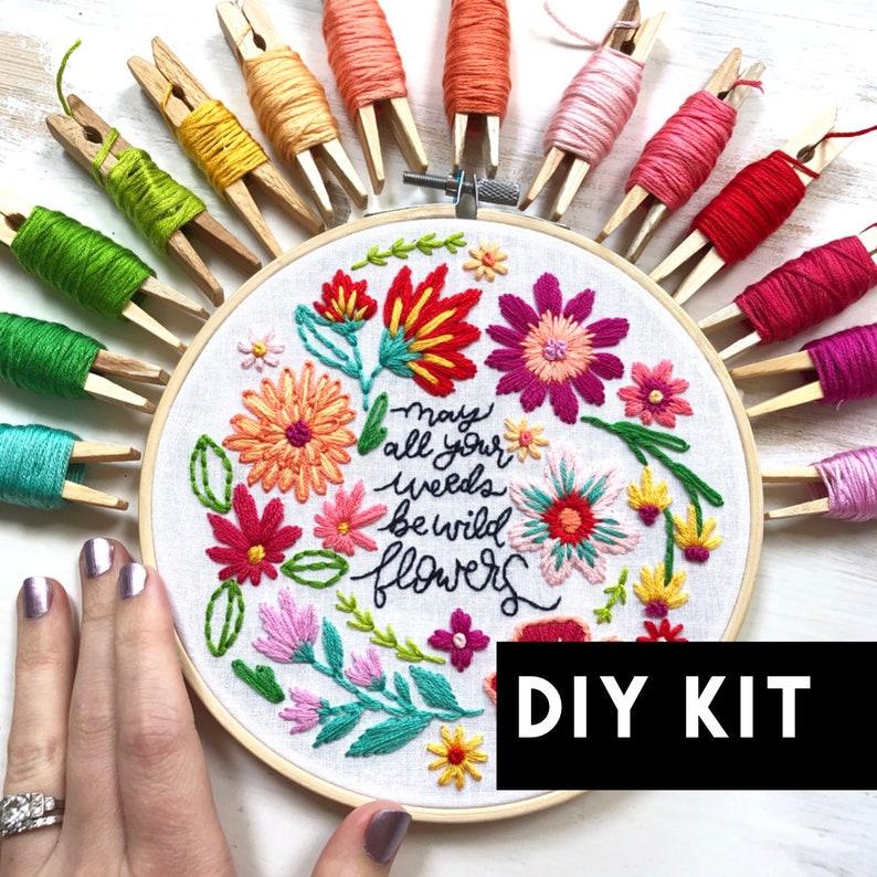 Weeds to Wildflowers DIY Kit Beginner Embroidery Pattern. image 0