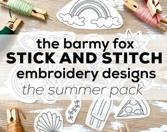 The Summer Pack Stick and Stitch Embroidery Pattern. Summer Embroidery Stick and Stitch Designs. Water Soluble Stick on Embroidery Patterns