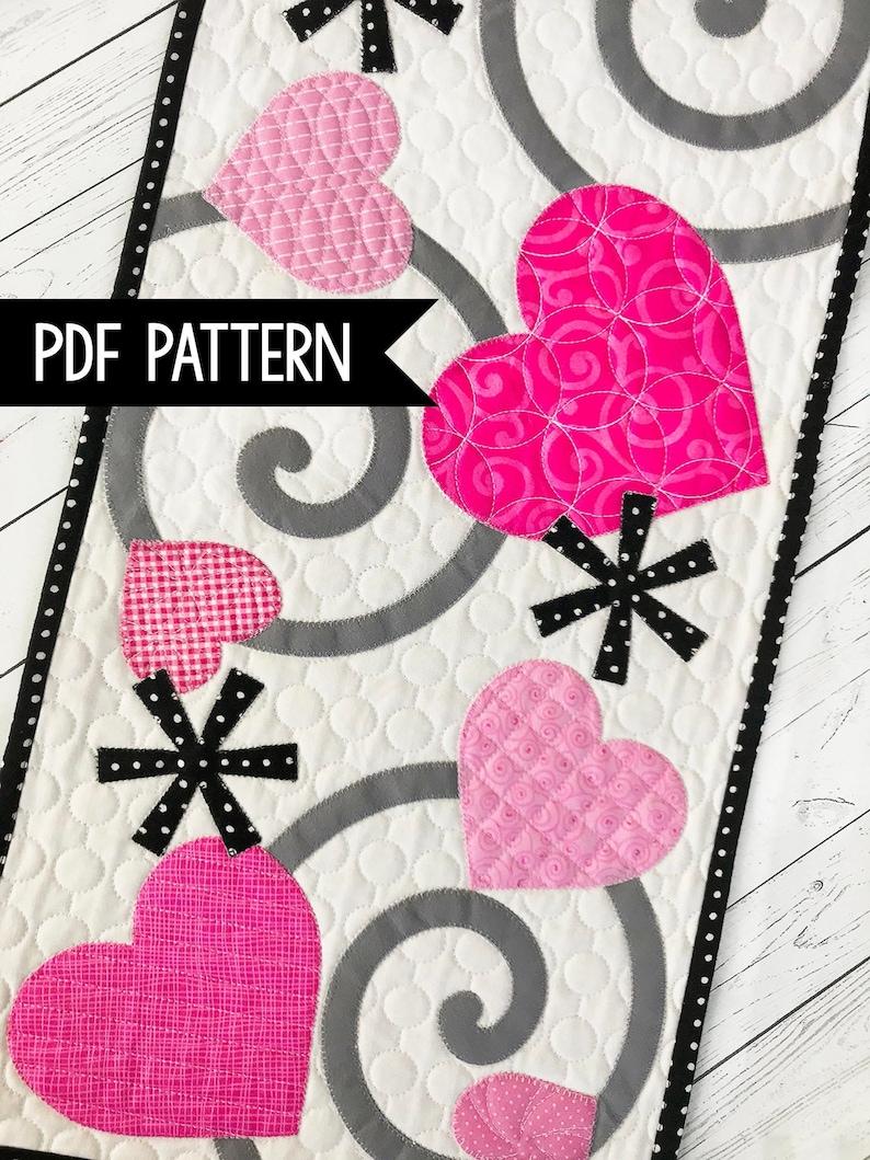 Valentine's Table Runner Quilt Pattern PDF Download image 0