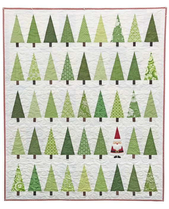 Christmas Tree Pattern.Santa In The Trees Quilt Pattern Pdf