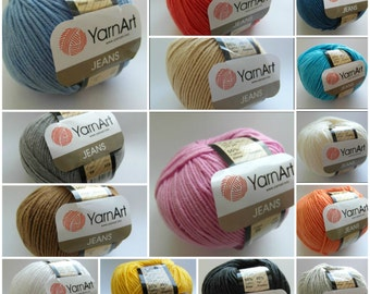12 colors - YarnArt Jeans Yarn - cotton and acrylic blend, perfect for amigurumi 50g per ball