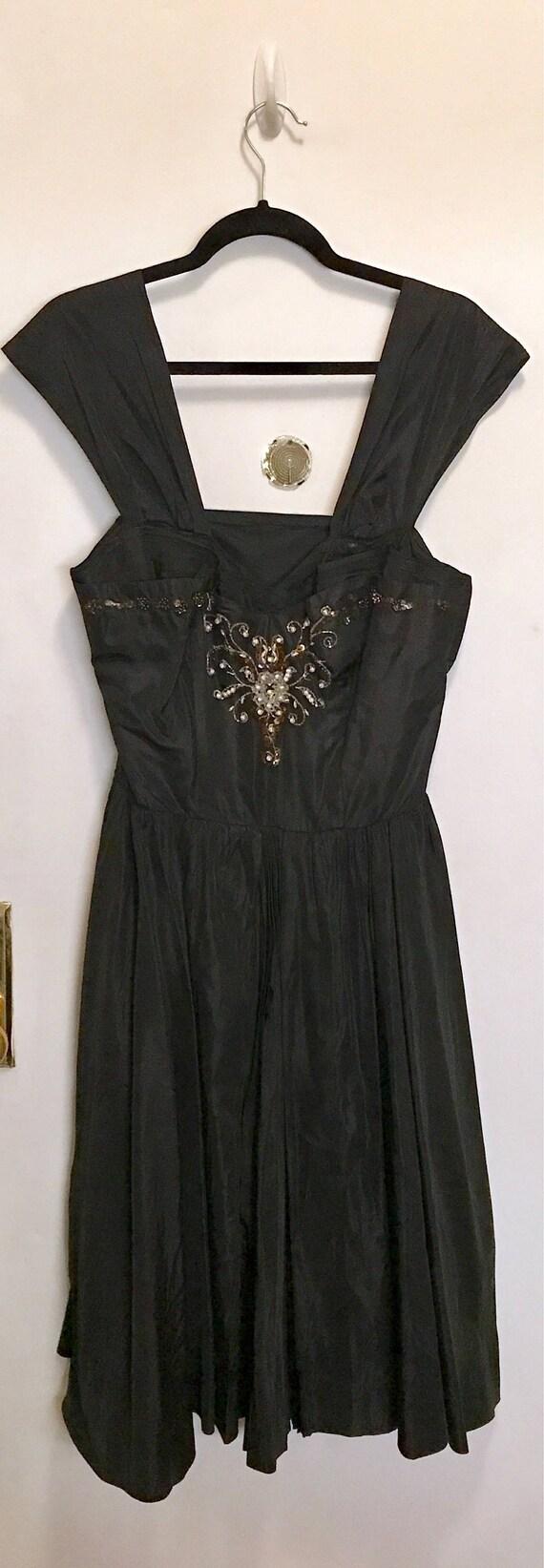 Jahrgang 1950 schwarz Taft Partei Kleid 50er Jahre Pailletten