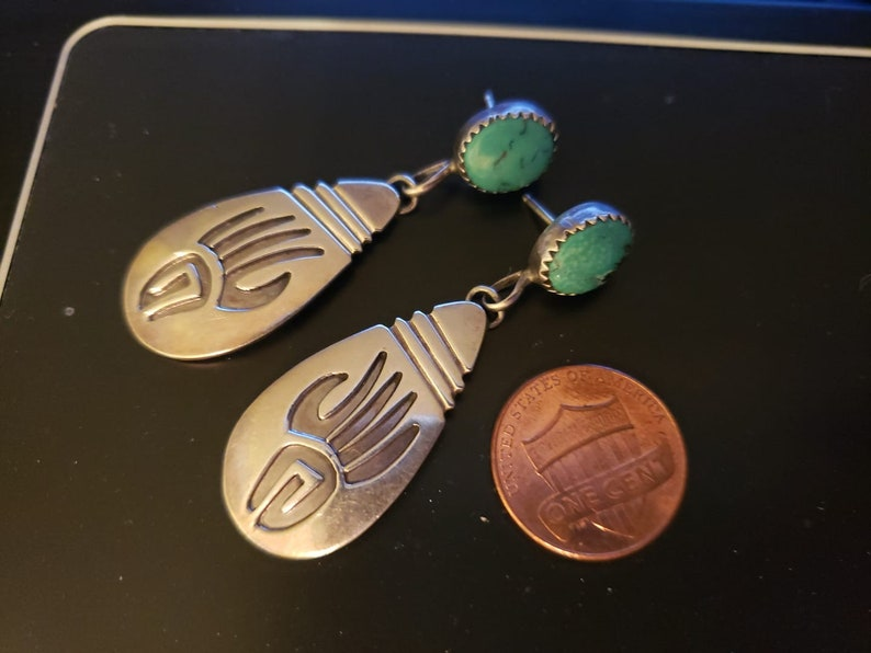 Authentic Native American 925 Sterling Earrings with Turquoise