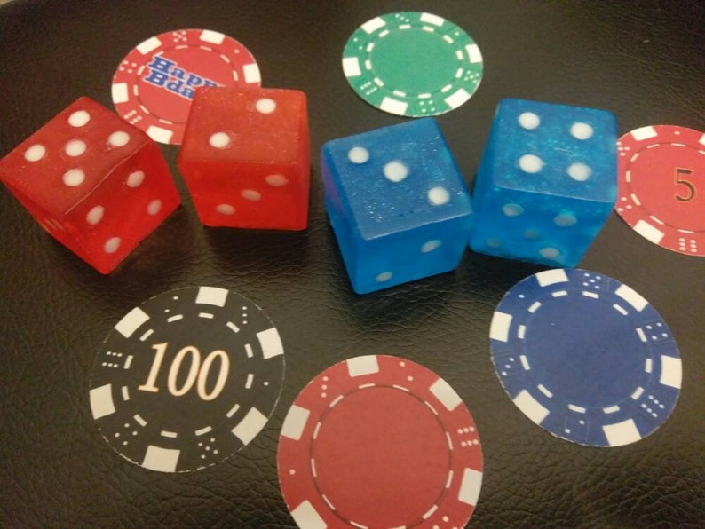 Dice Soap (2), Craps, Poker, High Roller, Vegas Night, Casino Party, Bunco,  Organic Soap,1 1/8
