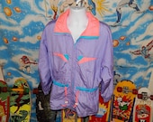 80s Windbreakers, Jackets, Coats Insane Pastel Colorblock Windbreaker Jacket  Long  Pink Purple  80s vintage $48.99 AT vintagedancer.com