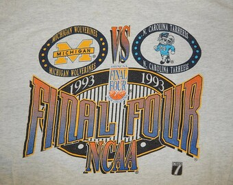 920f3d29 1993 Final Four NCAA Basketball Shirt - Michicagn Wolverines North Carolina  Tar Heels - vintage 90s t-shirt
