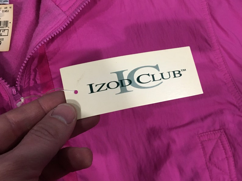 Fleece lined cute coat vintage 80s 90s Hot Pink IZOD CLUB jacket Deadstock w Tags sz S