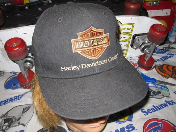 5a4a03fad6346 vtg Harley Davidson Leather Strap Back Hat biker motorcycle