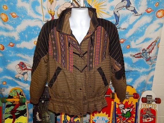 INSANE 80s Puffer Jacket - Aztec Ruffled - vintage