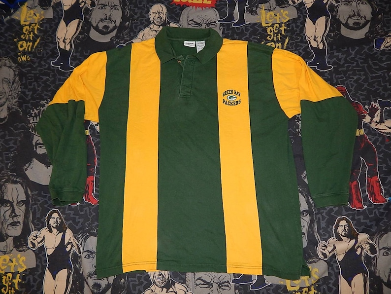 ec974c77d10 90s Green Bay Packers STRIPED RUGBY SHIRT sz xl vintage | Etsy