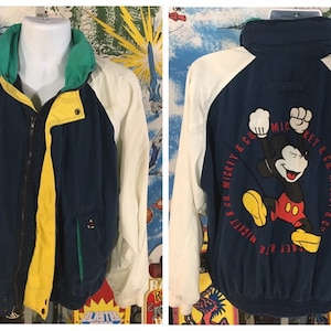 mickey mouse nautica full zip coat sz L vintage 90s Mickey /& Co Tommy Hilfiger inspired sailing jacket