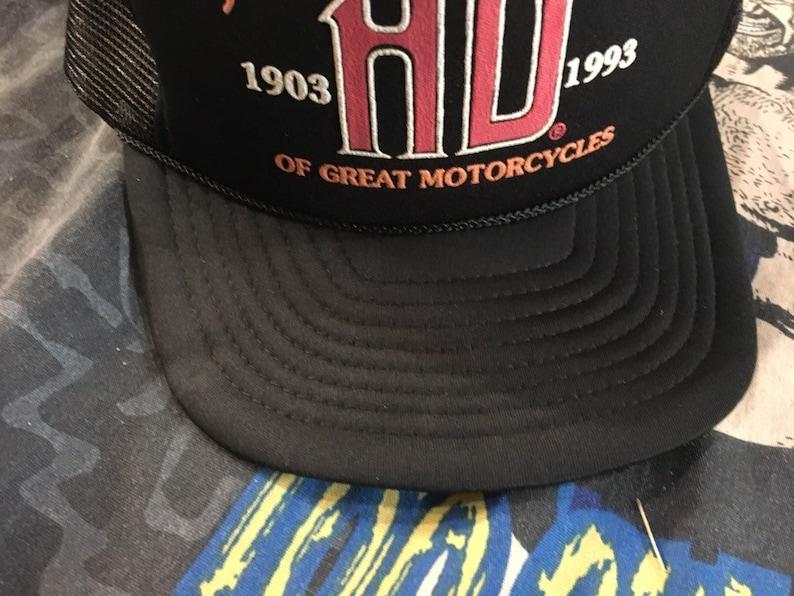 ea56339e8bb1a 1993 Harley Davidson MESH TRUCKER HAT vintage retro snapback
