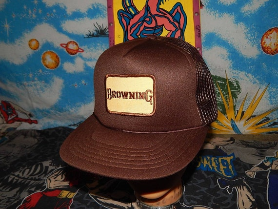 47a3f31ae7d25 80s BROWNING snpaback truckers mesh hat guns rifles