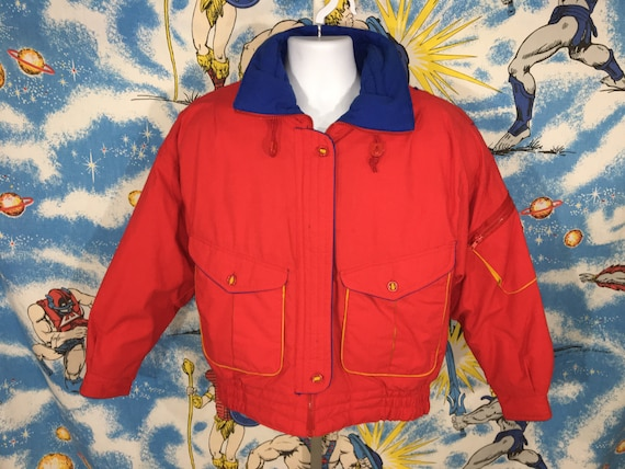 colorful vintage 80s 90s modern ski winter jacket