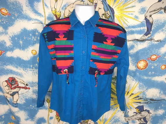 vintage striped coral wrangler button upvintage striped collared patterned  shirt80s south west color block bright cowboy cut