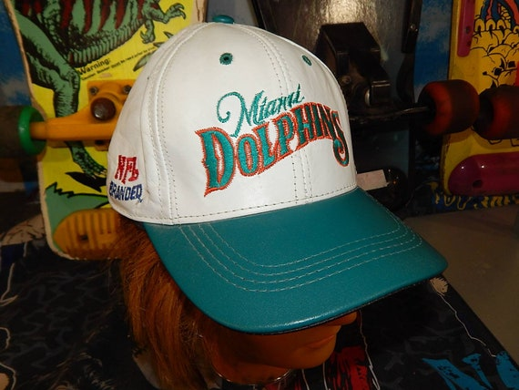 38d7e1ffb9f62 ... usa 90s miami dolphins leather snapback hat rare vintage nfl etsy 71368  96f14
