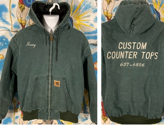 vintage 90s Distressed Faded Green Carhartt Hooded