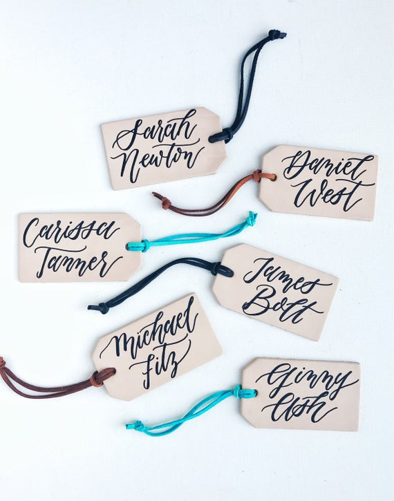 Leather Luggage Tag Escort Cards, Leather Tag Place Cards, Leather Tag  Wedding Favor, Calligraphy Leather Tags, Bridesmaid Groomsmen Gifts
