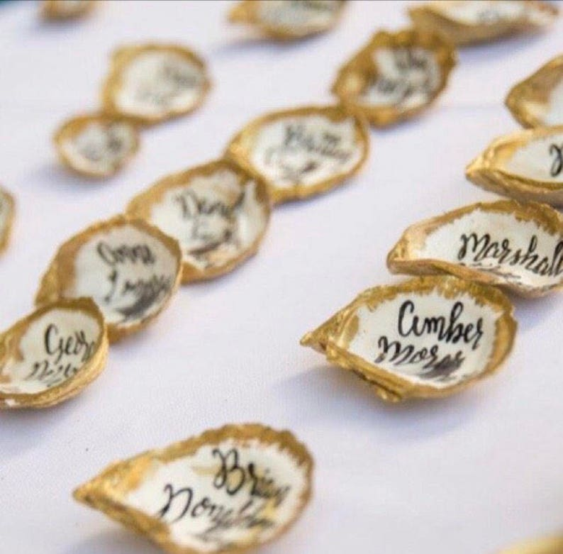Calligraphy Oyster Favor Gold Oyster Place Cards Oyster Wedding Favor Brushed Gold Oyster Shell Escort Cards