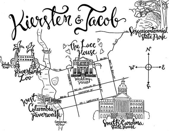 Custom Wedding Map, Hand Drawn Wedding Map