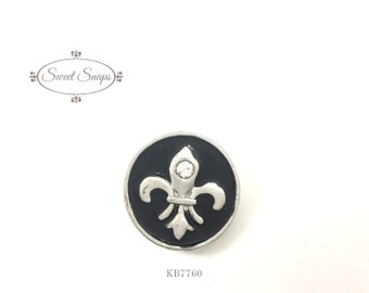 Snap jewelry, snap, button, gingersnaps, noosa snap, 18-20mm. interchangeable snap {style: Fleur De Lis, Embossed} (KB7760)