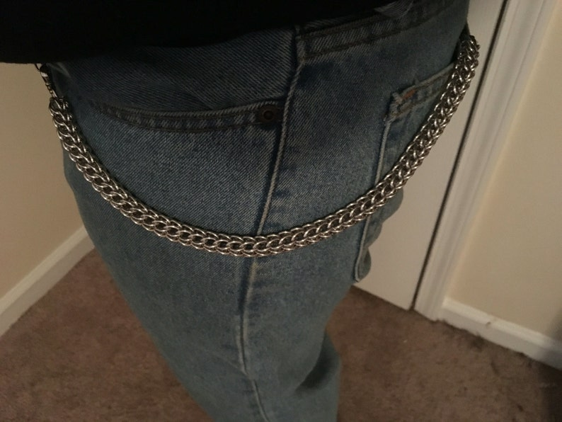 12 Chainmail Wallet Chain Large Thick Chunky Wallet Chain Steel Silver Metal Chain Punk Biker Trucker Alternative Wallet Chain