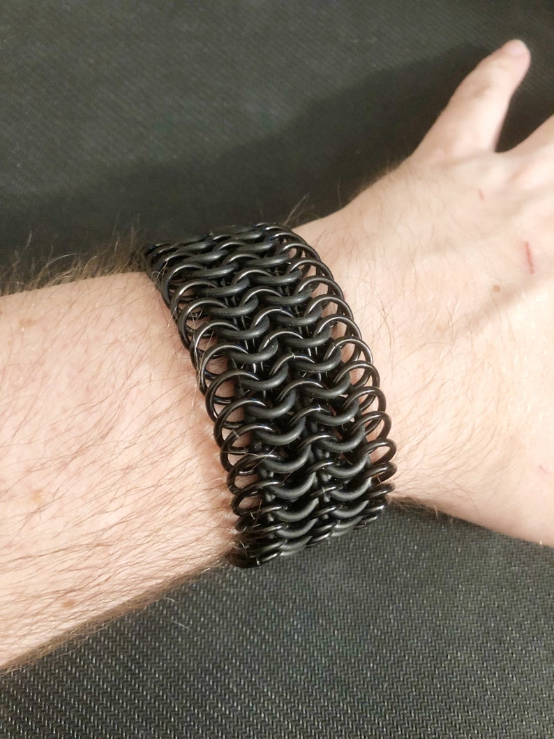 Double Black on Black Strip Leather Wristband Bracelet Cuff Goth Punk Metal Emo