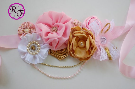 Pink And Gold Baby Shower Maternity Sash Baby Girl Maternity Belt