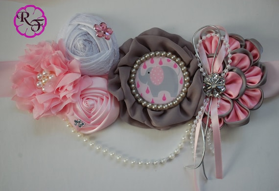 Maternity Sash Gray And Pink Maternity Sash Pregnancy Sash Pink