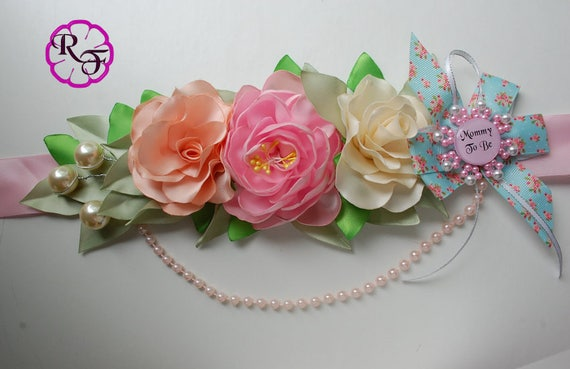 Floral Baby Shower Sash Maternity Sash Girl Pink Belly Belt
