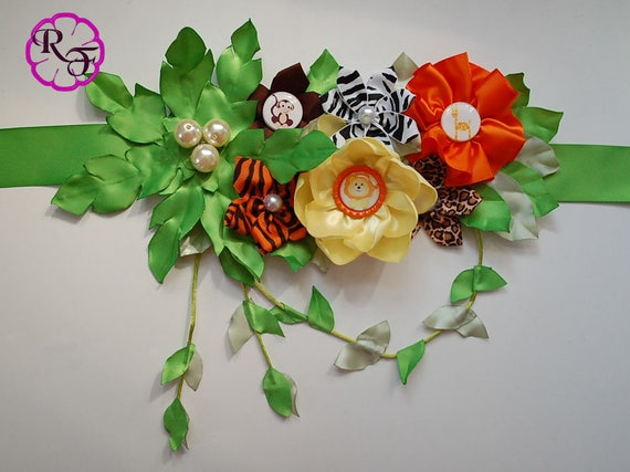 Safari Baby Shower Jungle Baby Shower Maternity Sash Belt Boy