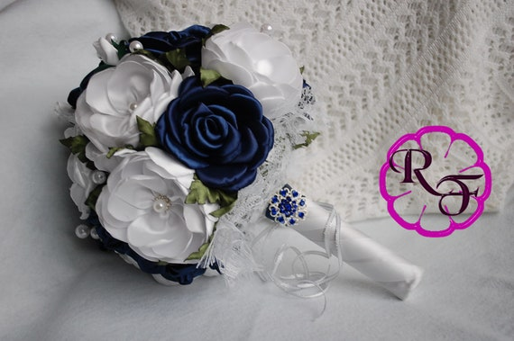 Navy Wedding Bouquet Bridal Bouquet Navy Blue White Bridal Bouquet Fabric Flowers Bouquet Satin Flowers Bouquet Navy Blue Wedding By Rain Of Flowers Catch My Party