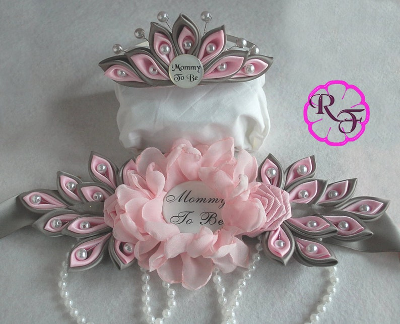 Maternity Sash Girl Pink Gray Maternity Sash And Crown Etsy