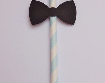 Blue and White Striped Paper Straws with Bow Tie Detail