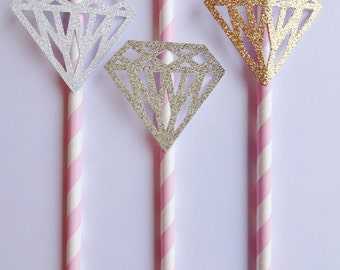 Pink and White Striped Paper Straws with Diamond Detail