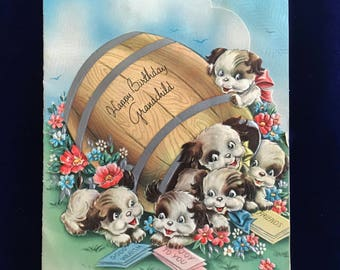 1930's Japanese Chin Puppies Forget Me Not Birthday Card Grandchild