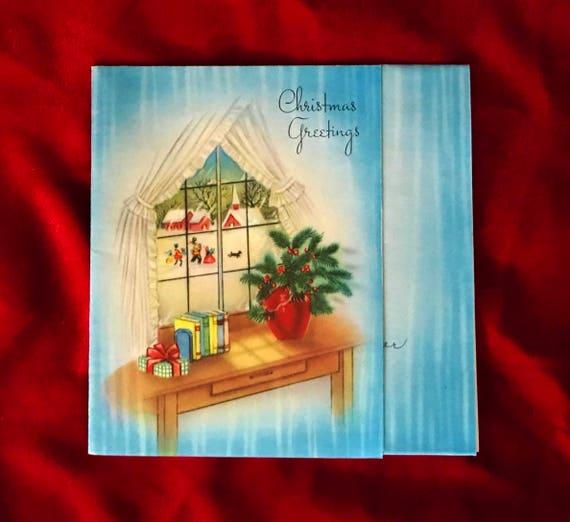 1940-Weihnachtskarten-Gruß-Karte von Qualität Fenster Szene   Etsy