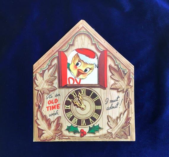 1940er Jahren Kuckucksuhr Weihnachtskarte unbenutzt   Etsy