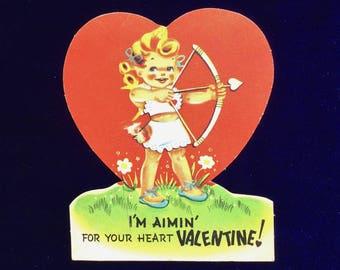 1940's Cupid Girl Valentine Card Carrington Company