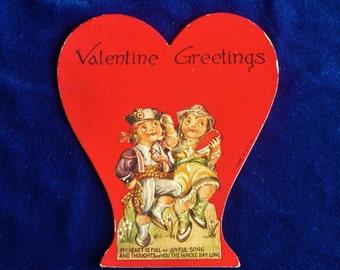 1930's Spanish Matador Valentine Card Die Cut Embossed