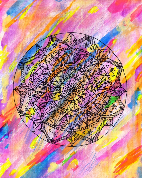 full color mandala art print freehand mandala intricate etsy
