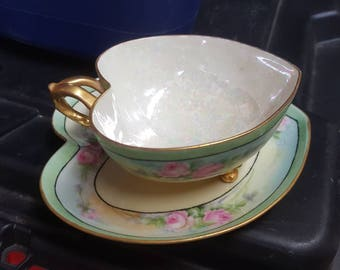 Vintage Heart Shaped Footed Cup & Saucer  - NO CRACKS
