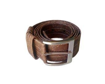 Brown Cork Belt 40mm Wide Vegan Leather Belt for Men Handmade Vegan Gifts for Him