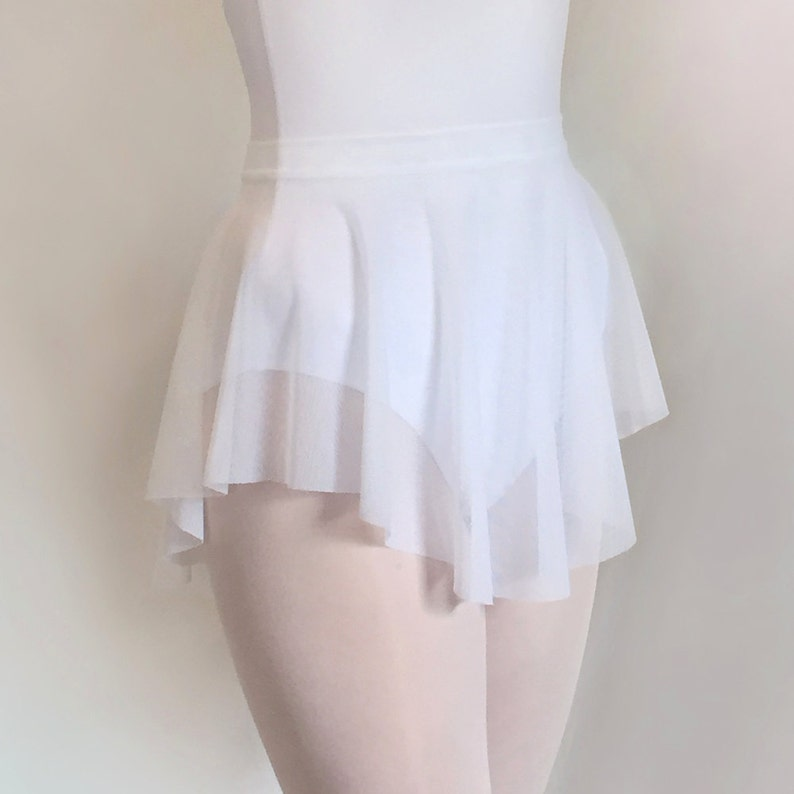 SAB skirt- Ballet Skirt Dancewear -Sheer Stretch MESH Classic White - Dance  skirt- Summer intensive