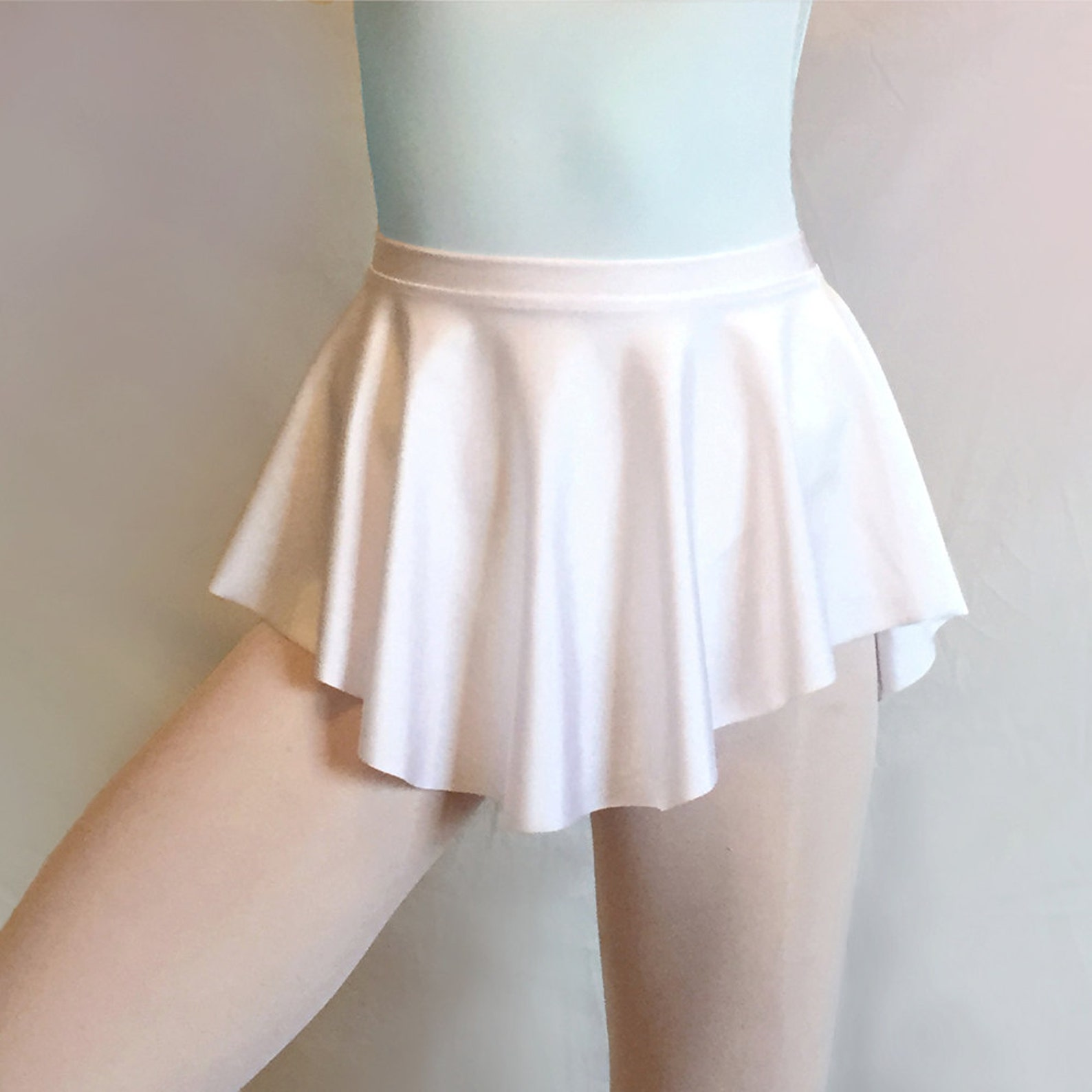 ballet skirt- white sab skirt- dance wear- white lycra/ spandex- royall dancewear- pull-on skating- lyrical costume -