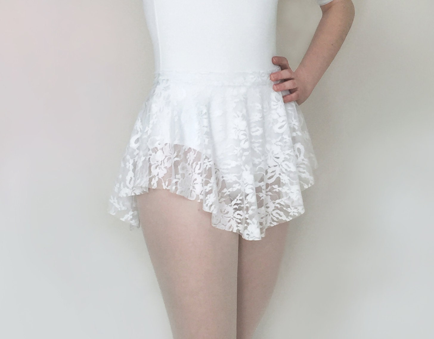 Lace Ballet Skirt- SAB Skirt - Stretch Lace Classic White - Dance skirt-  Royall Dancewear- summer intensive